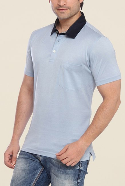 ColorPlus Blue Solid Polo T Shirt
