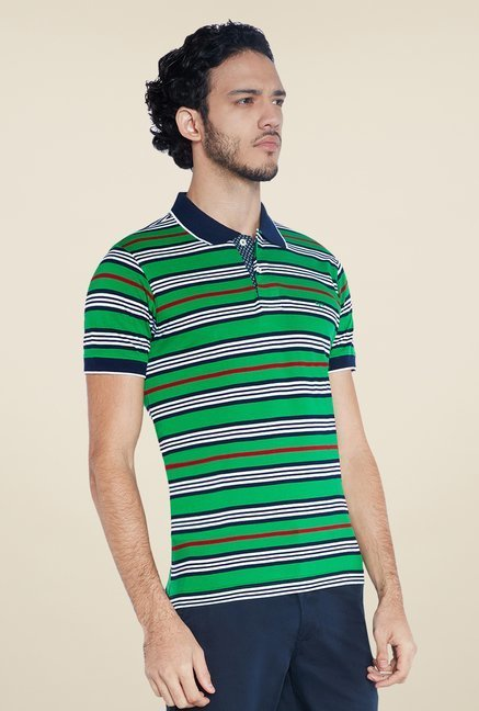 ColorPlus Green Striped Polo T Shirt