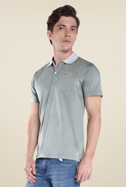 Park Avenue Grey Solid Polo T Shirt