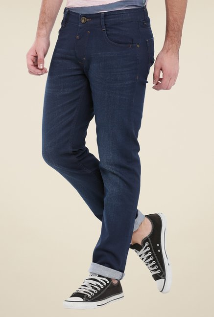 Parx Navy Rinse Washed Jeans