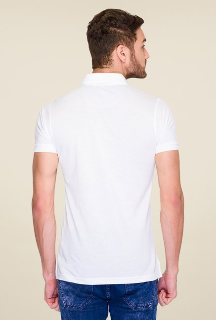 ColorPlus White Solid Polo T Shirt