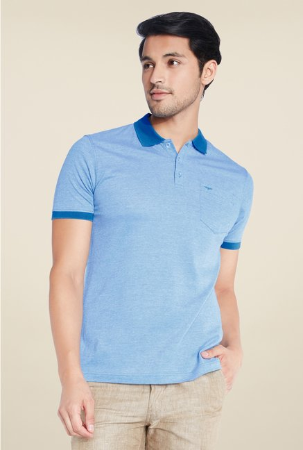 Park Avenue Blue Solid Polo T Shirt