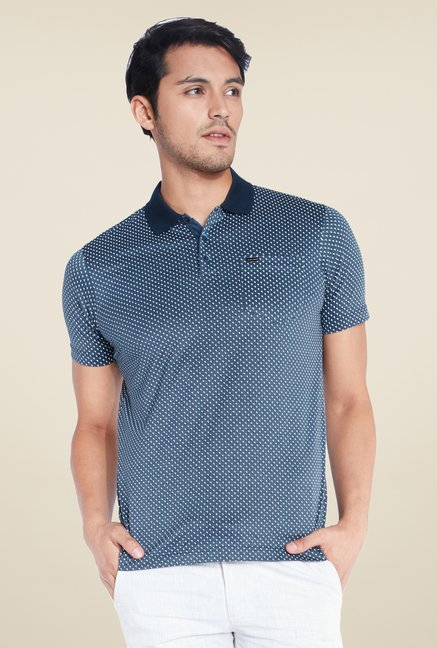 Park Avenue Navy Printed Polo T Shirt