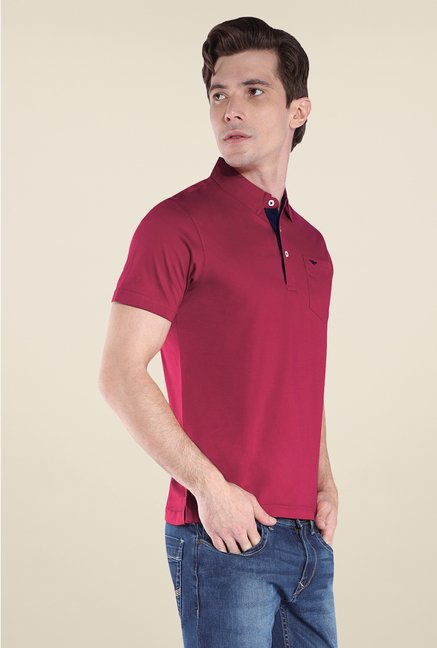 Park Avenue Maroon Solid Polo T Shirt