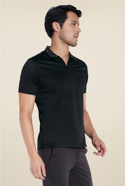 Park Avenue Black Solid Polo T Shirt