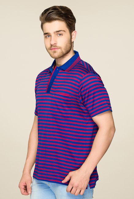Raymond Blue & Red Striped Polo T Shirt