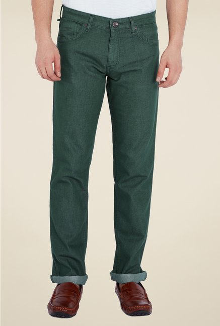 Park Avenue Green Raw Denim Jeans