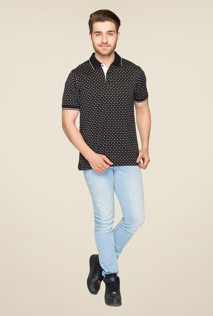 Raymond Black Printed Polo T Shirt