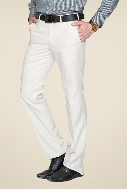 Raymond White Solid Trouser