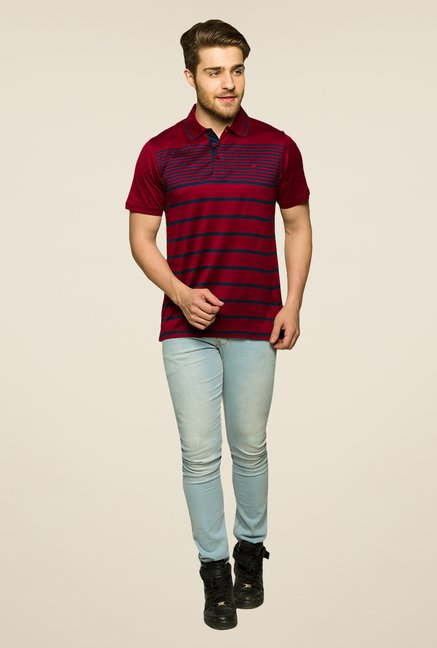 Raymond Maroon & Blue Striped Polo T Shirt