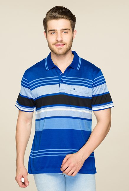 Raymond Blue Striped Polo T Shirt