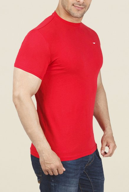 ColorPlus Red Solid Crew Neck T Shirt
