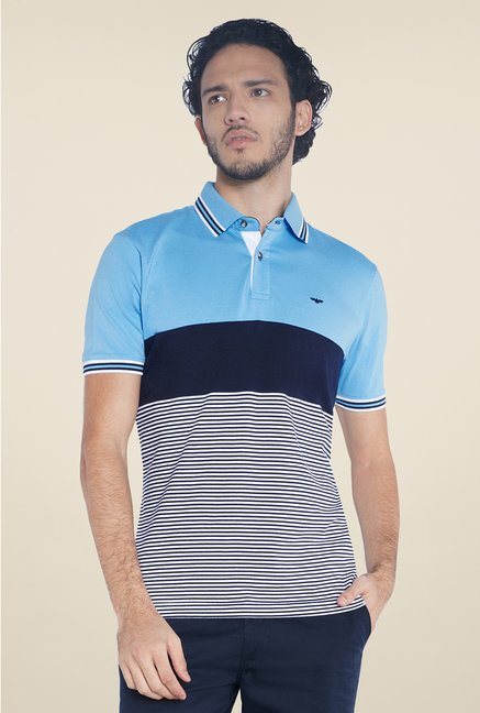 Park Avenue Blue & Navy Striped Polo T Shirt