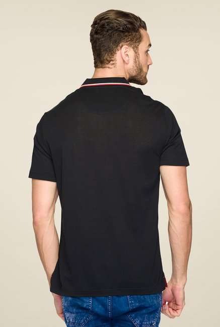 Raymond Black Solid Polo T Shirt