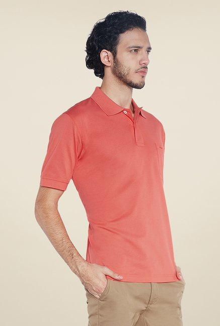 ColorPlus Peach Solid Polo T Shirt