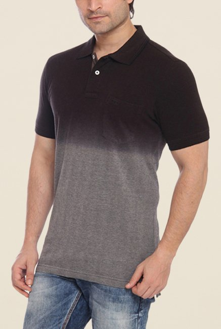 ColorPlus Black Ombre Polo T Shirt