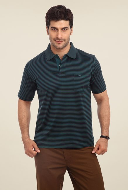 ColorPlus Blue Striped Polo T Shirt