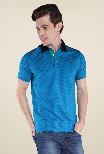 Park Avenue Blue Printed Polo T Shirt