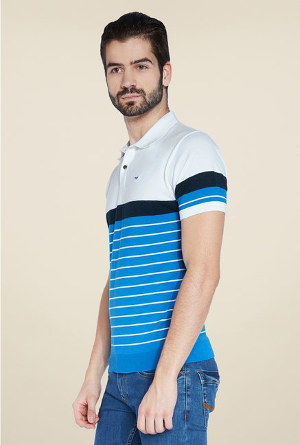 Park Avenue Blue Striped Polo T Shirt
