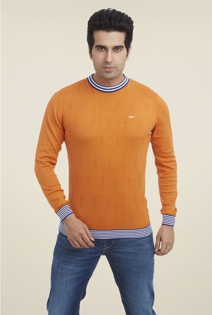 Park Avenue Orange Printed T Shirt