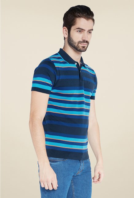 Park Avenue Dark Blue Striped Polo T Shirt