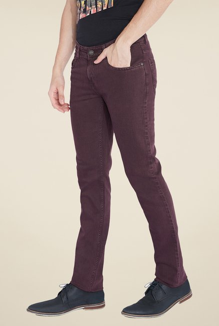 Parx Brown Raw Denim Slim Fit Jeans