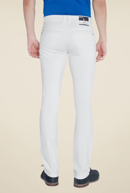 Parx White Raw Denim Slim Fit Jeans