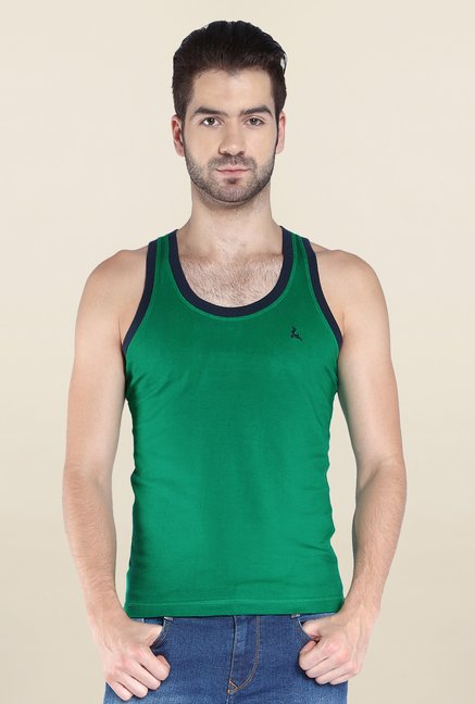Parx Green Sleeveless Solid Vest