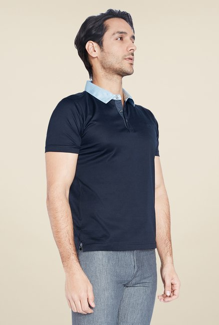 ColorPlus Navy Solid Polo T Shirt