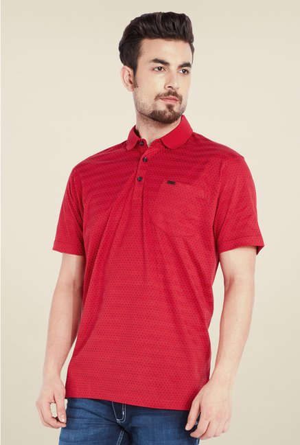 Park Avenue Red Printed Polo T Shirt