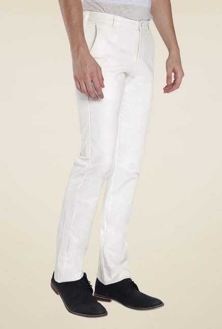Parx White Solid Chinos