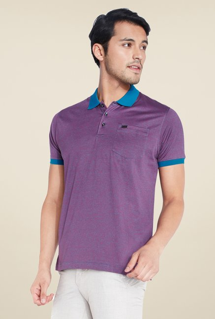 Park Avenue Purple Textured Polo T Shirt