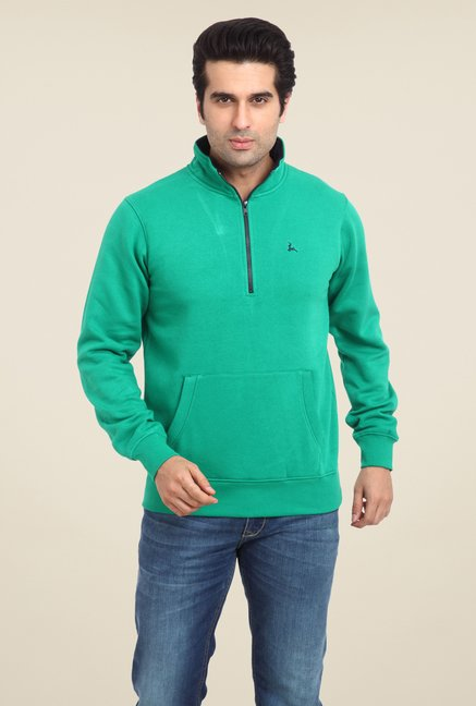 Parx Green Solid Sweatshirt