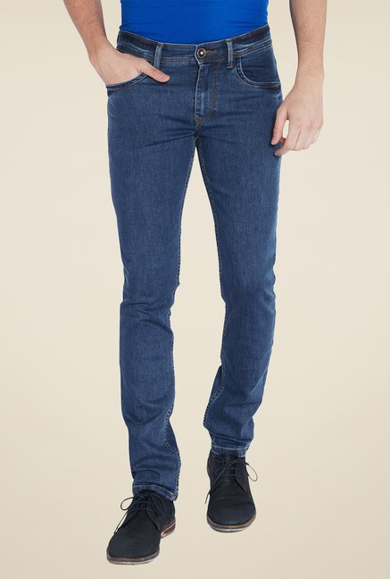 Parx Blue Raw Denim Slim Fit Jeans