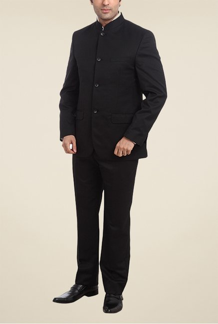 Park Avenue Black Solid Formal Suit