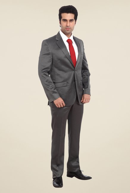 Raymond Dark Grey Solid Formal Suit