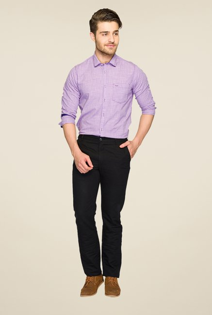 Parx Black Solid Chinos