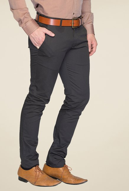 Parx Grey Solid Chinos
