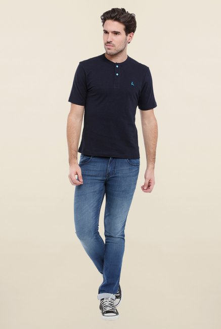 Parx Dark Blue Solid Henley Neck T Shirt