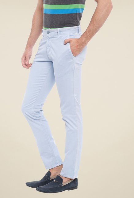 Parx Light Blue Solid Chinos