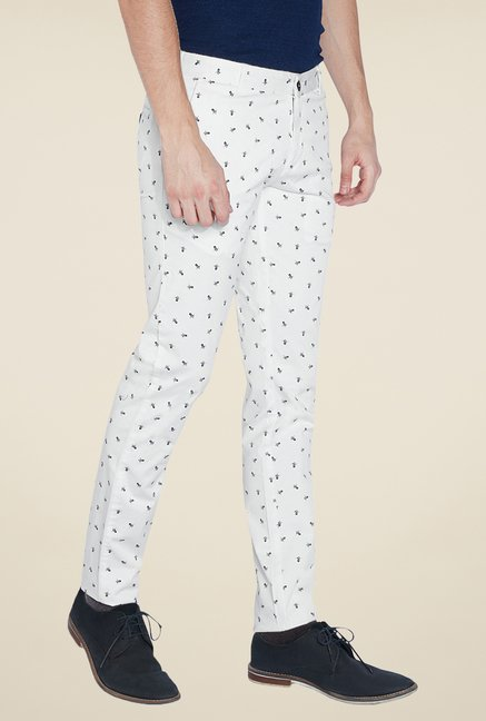 Parx White Printed Chinos