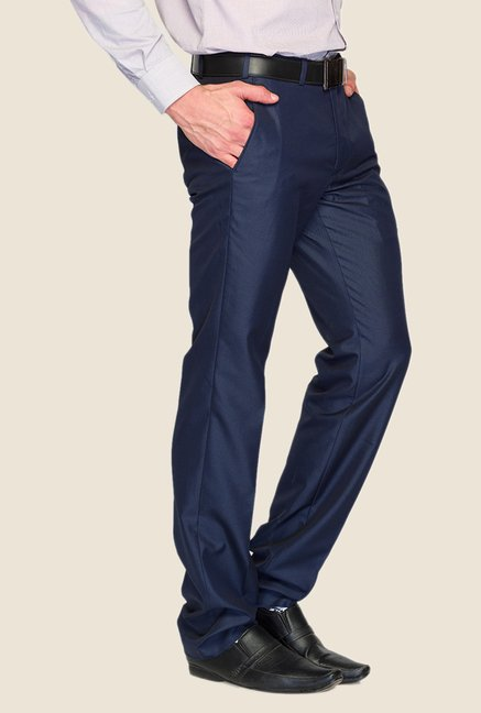 Raymond Dark Blue Solid Trouser