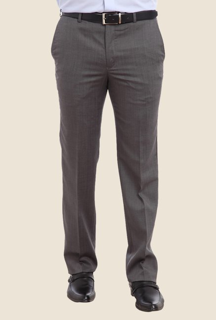 Raymond Dark Grey Solid Trouser