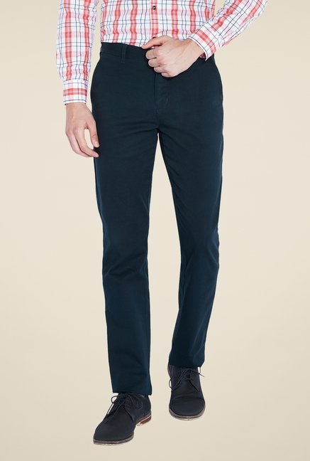 Parx Blue Solid Chinos