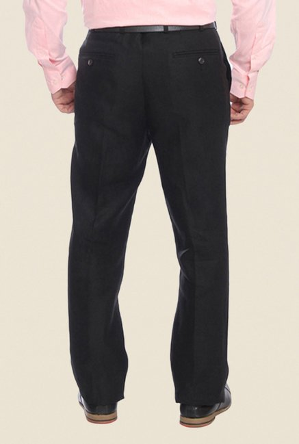 Raymond Black Solid Linen Trouser