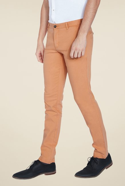 Parx Peach Solid Chinos