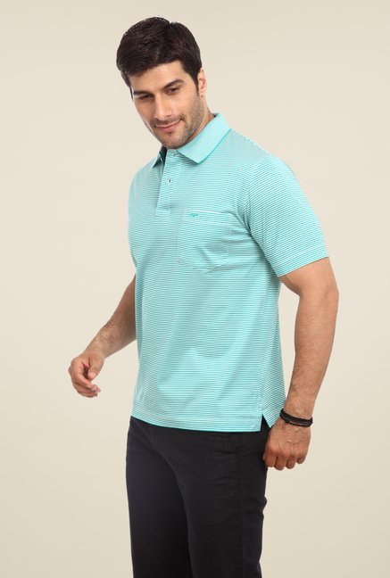 ColorPlus Sky Blue Striped Polo T Shirt