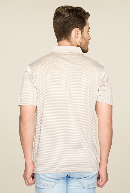 ColorPlus Beige Striped Polo T Shirt