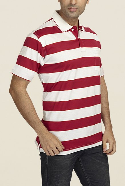 ColorPlus Red & White Striped Polo T Shirt