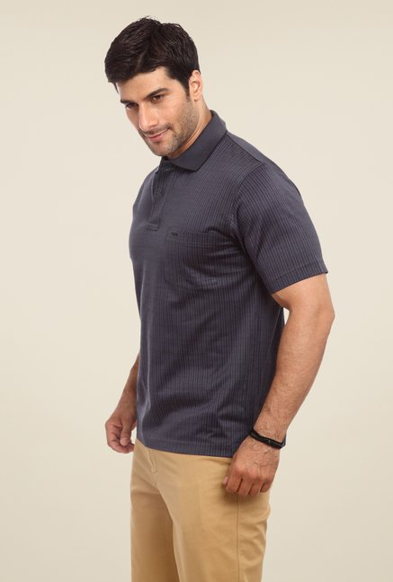 ColorPlus Black Printed Polo T Shirt